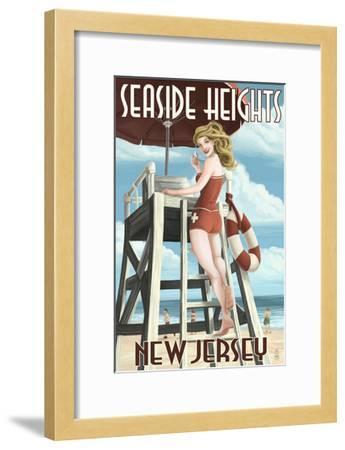 Seaside Heights, New Jersey - Lifeguard Pinup Girl-Lantern Press-Framed Art Print