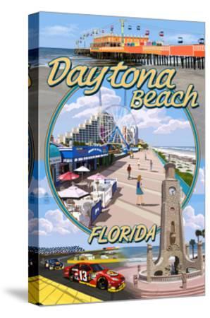 Daytona Beach, FL - Daytona Beach Montage-Lantern Press-Stretched Canvas Print