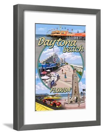 Daytona Beach, FL - Daytona Beach Montage-Lantern Press-Framed Art Print