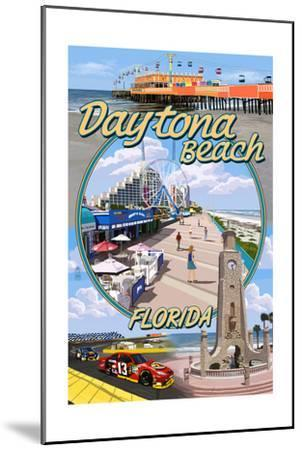 Daytona Beach, FL - Daytona Beach Montage-Lantern Press-Mounted Art Print