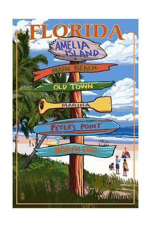 Amelia Island, Florida - Destinations Signpost-Lantern Press-Framed Art Print