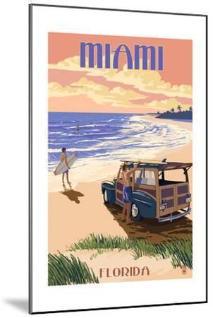 Miami, Florida - Woody on the Beach-Lantern Press-Mounted Art Print