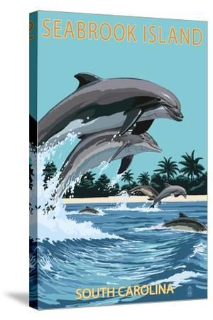 Dolphins Jumping - Seabrook Island, South Carolina-Lantern Press-Stretched Canvas Print