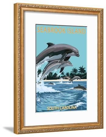 Dolphins Jumping - Seabrook Island, South Carolina-Lantern Press-Framed Art Print