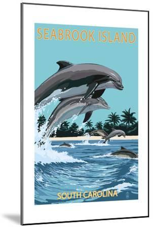 Dolphins Jumping - Seabrook Island, South Carolina-Lantern Press-Mounted Art Print