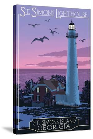 St. Simons, Georgia - Lighthouse-Lantern Press-Stretched Canvas Print
