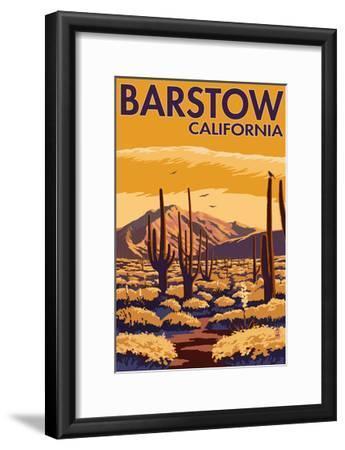 Barstow, California - Desert Scene with Cactus-Lantern Press-Framed Art Print