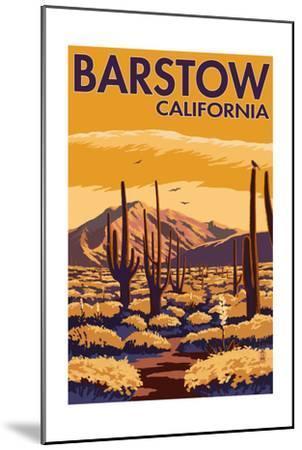 Barstow, California - Desert Scene with Cactus-Lantern Press-Mounted Art Print