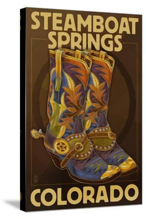 Steamboat Springs, Colorado - Boot Pair-Lantern Press-Stretched Canvas Print