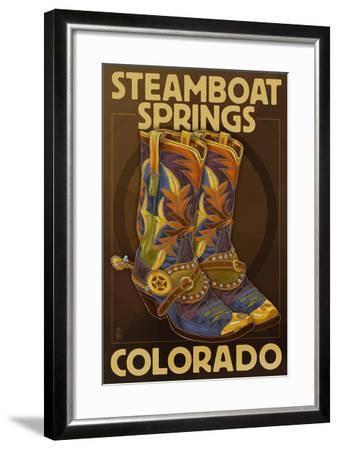 Steamboat Springs, Colorado - Boot Pair-Lantern Press-Framed Art Print