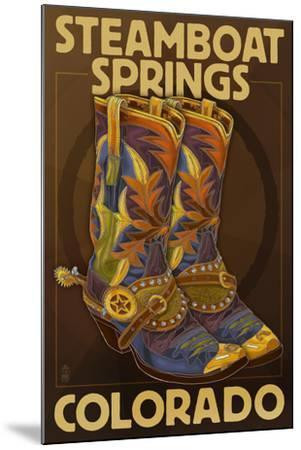Steamboat Springs, Colorado - Boot Pair-Lantern Press-Mounted Art Print