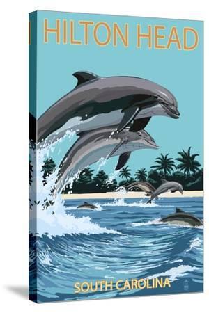 Hilton Head, South Carolina - Dolphins Jumping-Lantern Press-Stretched Canvas Print