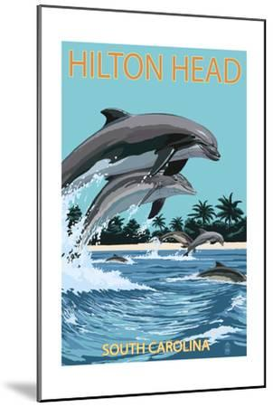 Hilton Head, South Carolina - Dolphins Jumping-Lantern Press-Mounted Art Print