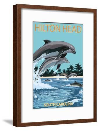 Hilton Head, South Carolina - Dolphins Jumping-Lantern Press-Framed Art Print