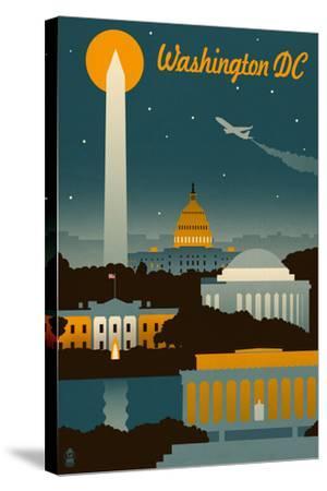 Washington, DC - Retro Skyline-Lantern Press-Stretched Canvas Print