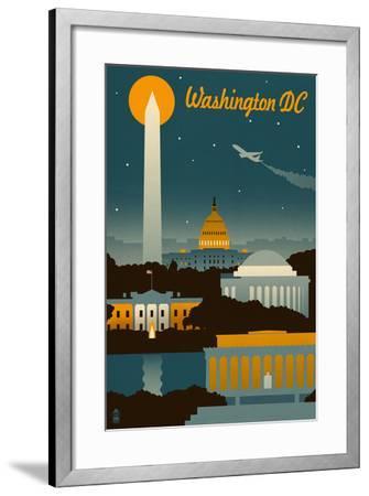 Washington, DC - Retro Skyline-Lantern Press-Framed Art Print
