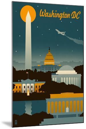 Washington, DC - Retro Skyline-Lantern Press-Mounted Art Print