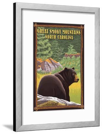 Great Smoky Mountains, North Carolina - Black Bear in Forest-Lantern Press-Framed Art Print