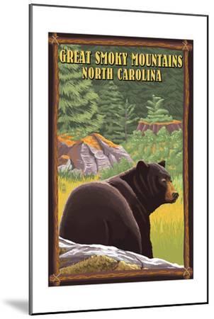 Great Smoky Mountains, North Carolina - Black Bear in Forest-Lantern Press-Mounted Art Print