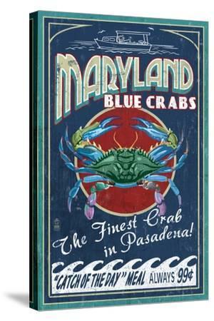 Pasadena, Maryland - Blue Crabs Vintage Sign-Lantern Press-Stretched Canvas Print