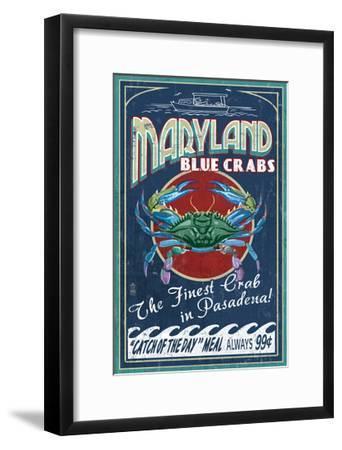 Pasadena, Maryland - Blue Crabs Vintage Sign-Lantern Press-Framed Art Print