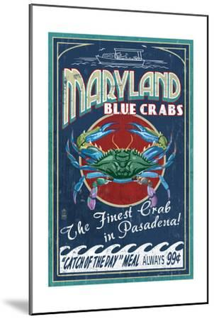 Pasadena, Maryland - Blue Crabs Vintage Sign-Lantern Press-Mounted Art Print