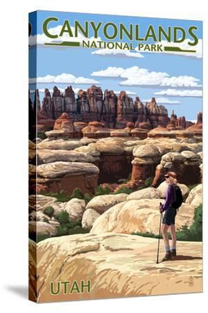 Canyonlands National Park, Utah - Hiker Scene-Lantern Press-Stretched Canvas Print