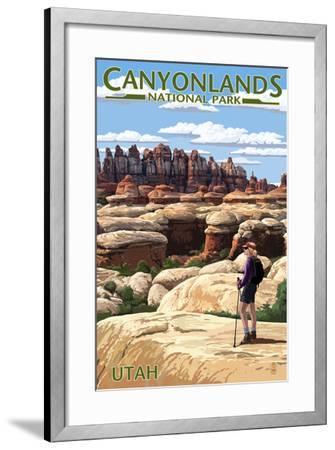 Canyonlands National Park, Utah - Hiker Scene-Lantern Press-Framed Art Print