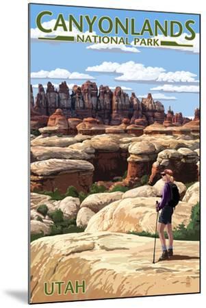 Canyonlands National Park, Utah - Hiker Scene-Lantern Press-Mounted Art Print