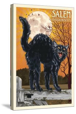 Salem, Massachusetts - Black Cat and Moon-Lantern Press-Stretched Canvas Print