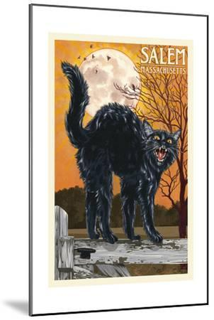 Salem, Massachusetts - Black Cat and Moon-Lantern Press-Mounted Art Print