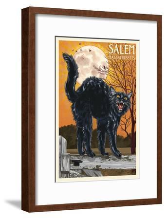 Salem, Massachusetts - Black Cat and Moon-Lantern Press-Framed Art Print