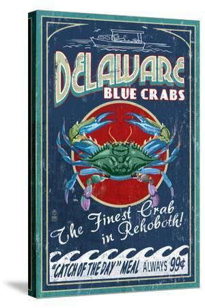 Rehoboth, Delaware - Blue Crabs Vintage Sign-Lantern Press-Stretched Canvas Print