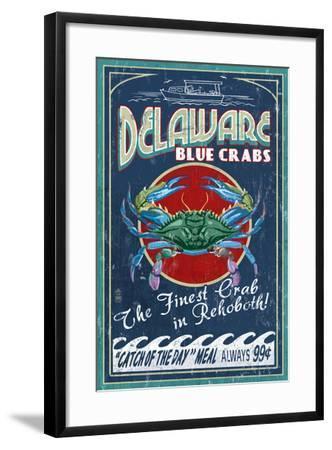 Rehoboth, Delaware - Blue Crabs Vintage Sign-Lantern Press-Framed Art Print