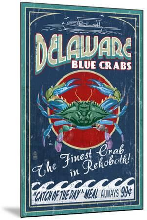 Rehoboth, Delaware - Blue Crabs Vintage Sign-Lantern Press-Mounted Art Print
