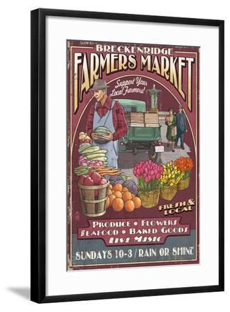 Breckenridge, Colorado - Farmers Market Vintage Sign-Lantern Press-Framed Art Print