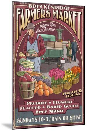 Breckenridge, Colorado - Farmers Market Vintage Sign-Lantern Press-Mounted Art Print