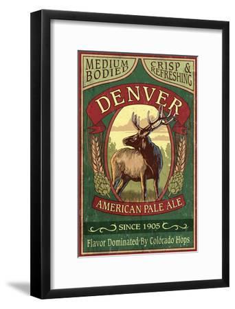 Denver, Colorado - Elk Head Pale Ale Vintage Sign-Lantern Press-Framed Art Print