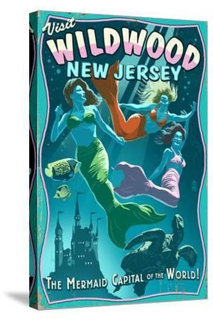 Wildwood, New Jersey - Mermaid Capital Sign-Lantern Press-Stretched Canvas Print