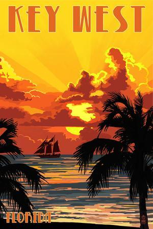 Key West, Florida - Sunset and Ship-Lantern Press-Stretched Canvas Print