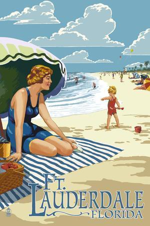 Ft. Lauderdale, Florida - Woman on the Beach-Lantern Press-Framed Art Print