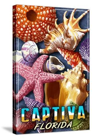 Captiva, Florida - Shell Montage-Lantern Press-Stretched Canvas Print