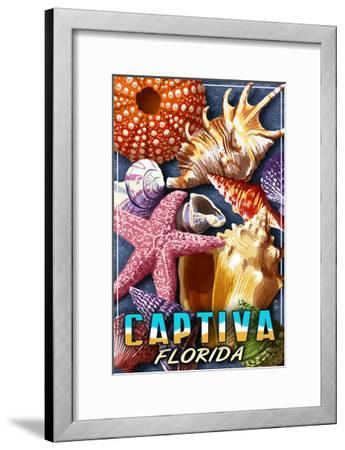 Captiva, Florida - Shell Montage-Lantern Press-Framed Art Print