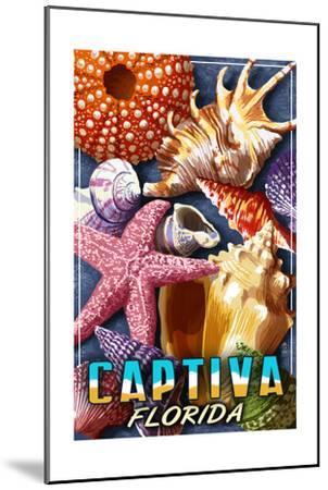 Captiva, Florida - Shell Montage-Lantern Press-Mounted Art Print