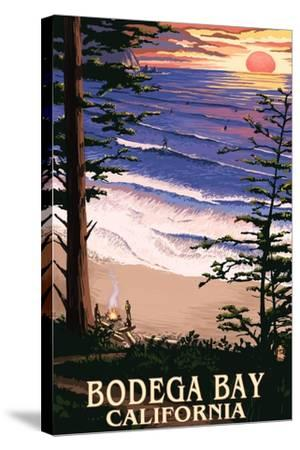 Bodega Bay, California - Sunset and Beach-Lantern Press-Stretched Canvas Print