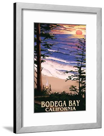 Bodega Bay, California - Sunset and Beach-Lantern Press-Framed Art Print