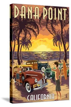 Dana Point, California - Woodies on the Beach-Lantern Press-Stretched Canvas Print