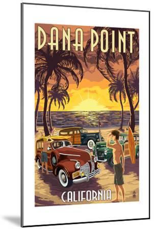 Dana Point, California - Woodies on the Beach-Lantern Press-Mounted Art Print