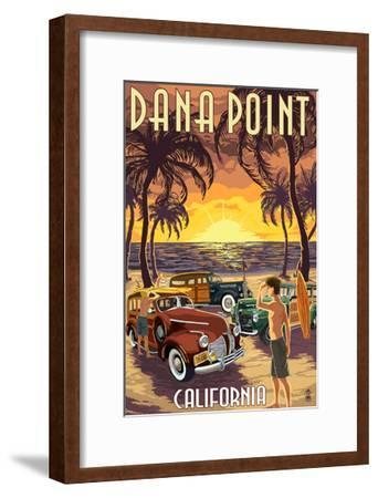 Dana Point, California - Woodies on the Beach-Lantern Press-Framed Art Print