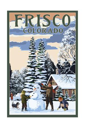Frisco, Colorado - Snowman Scene-Lantern Press-Framed Art Print